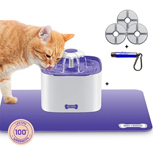 Ruff 'n Ruffus Cat Drinking Water Fountain with 3 Free Filters + Free Silicone Mat + Free Handheld Toy | 2-Liter Automatic Water Dispenser with 3 Flow Settings | Durable Pump & Easy Cleaning