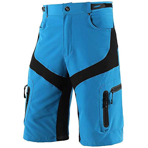 Sproou Pantalones Cortos De Ciclismo Hombres Transpirable para Ciclismo Correr MTB O Deportes Al Aire Libre con Bolsillos Suelto,Azul,L