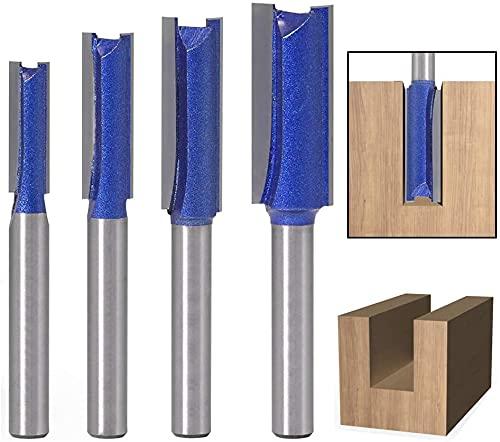 Wolfride 4本セット 品質ストレートビット 6.35mm軸 1/4インチシャンク径プロ級トリマービット 超硬タングステン鋼ルータービット 両刃木工フライスカッター木工用