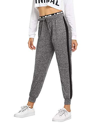 SweatyRocks Women's Drawstring Waist Long Workout Yoga Active Pant with Pocket - Grey - XS