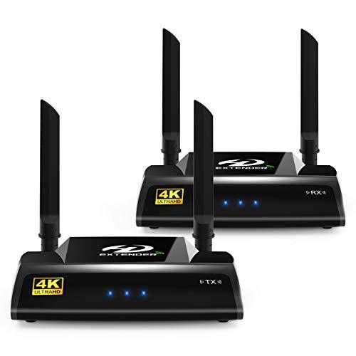 PAKITE PAT-595 - Juego de extensor inalámbrico HD para receptor y transmisor HDMI AV (5,0 GHz, transmisión digital 3D, Full HD 2160p, con mando a distancia por infrarrojos y cable HDMI), color negro