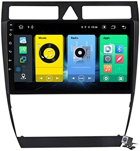 Android 9.1 GPS Navigation Stereo Radio para Audi A6 C5 1997-2004, 9' Pantalla Coche Media Player Soporte Carpaly/5G FM RDS/Control Volante/Bluetooth Hands-Free