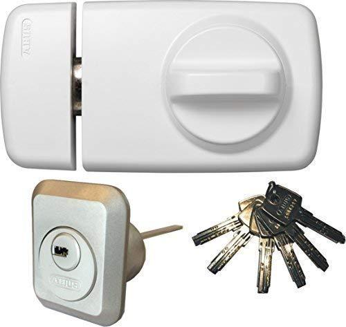 ABUS Tür-Zusatzschloss 7010 W weiß, EC550, Kastenschloss mit Drehknauf, mit 6 Schlüssel, Ausführung EK (Metallausführung)