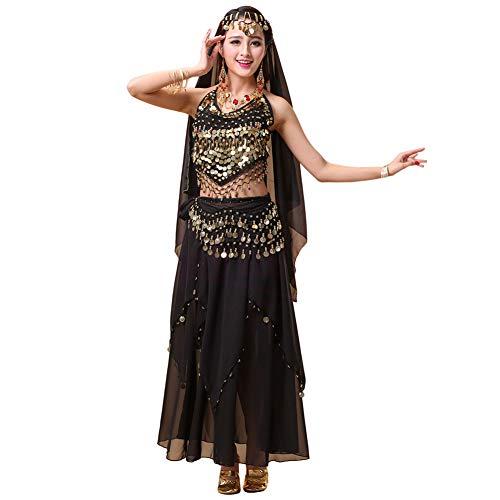 Xinvivion 4 Stück Damen Frauen Bauchtanz Professionel Kostüm Set Indischer Tanz Performance Outfit Anzug (Schwarz,Fit 45-70 KG)