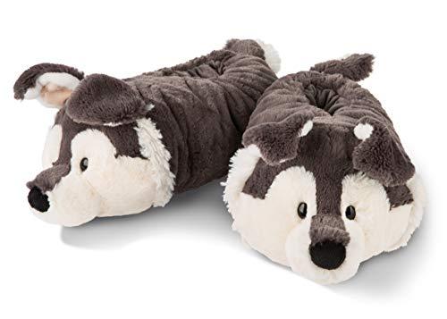 NICI 45745 Hausschuhe Husky Swante figürlich aus Plüsch, Gr. 38-41, kuschelige Puschen für warme Füße