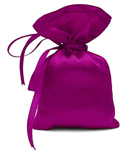 """50 Satin Drawstring Gift Pouch Small Wedding Party Favors Bag - 3"""" x 5.5"""" inches Baby Shower Thank You Pouches- Magenta Pink"""