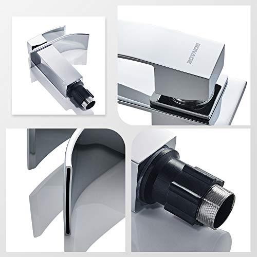 Auralum® Elegant Einhebel Mischbatterie Wasserhahn Armatur Waschtischarmatur Wasserfall Einhandmischer für Bad Badezimmer Waschbecken - 4