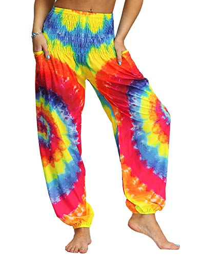 Voqeen Pantalones de Yoga de Salón para Mujer, Pantalones Holgados de Harem Hippie, Holgados, Bohemios, Estampados, Cintura Alta, Cintura Fruncida, Delgada con Bolsillos Grande Tamaño