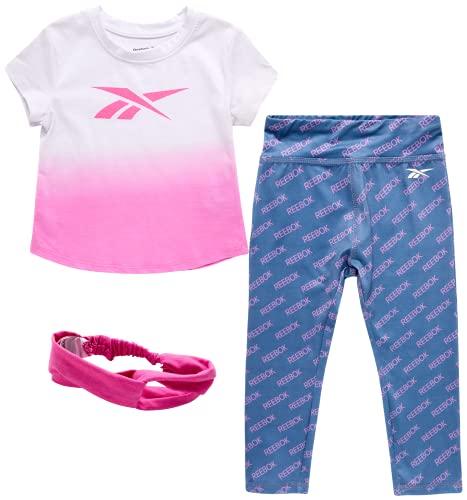 Reebok Baby Girls' Playwear Set ? 3 Piece Short Sleeve T-Shirt, Leggings, and Headband Set (Infant/Toddler), Size 4 Toddler, Sugar Plum/Ombre