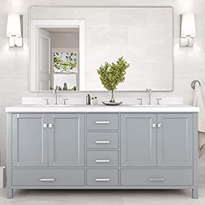 "ARIEL Bathroom Vanity 73"" Inch Double Rectangle Sinks with Pure White Quartz Countertop in Gray 