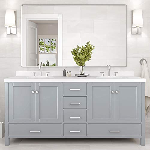 """ARIEL Bathroom Vanity 73"""" Inch Double Rectangle Sinks with Pure White Quartz Countertop in Gray 
