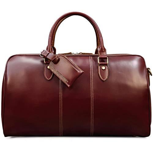 ボストンバッグ 本革 メンズ 光沢 レッド 大容量 男女兼用 レザー トラベルバッグ ラウンドファスナー 高級感 コルフバッグ 鞣しレザー 旅行バッグ 機内持ち込み 赤 50cm