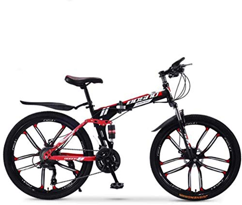 LJXiioo Mountain Bike Folding Bikes, 30-Speed Double Disc Brake Full Suspension Anti-Slip, Off-Road Variable Speed Racing Bikes for Men and Women,B,24IN