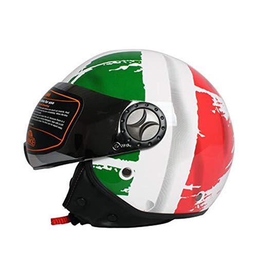 TK-701 Tank Open Face Scooter Moto Moto Casco, Retro Jet Pilot Chopper Mofa Cruiser Vintage Vespa Cascos ECE Certificado con Visera Estilo de la Bandera Italiana,M(57~58cm)