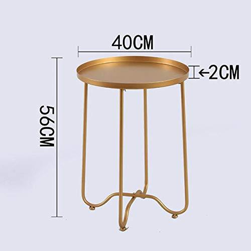 Nachtkastje LKU Opvouwbare kleine ronde salontafel sofa bank nachtkastje woonkamer meubels balkon tuintafel, Goud