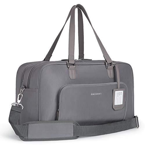 BAGSMART Reisetasche Weekender Nylon Wasserabweisend Sporttasche 15 Zoll Laptop mit Einer Schuhtasche für Reisen Fitness Arbeit, Grau
