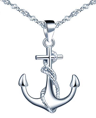 Yumilok Kette Damen Halskette Anker 925 Sterling Silber mit Anhänger Schmuck Zirkonia 45CM Kettenlänge Geschenk für Damen