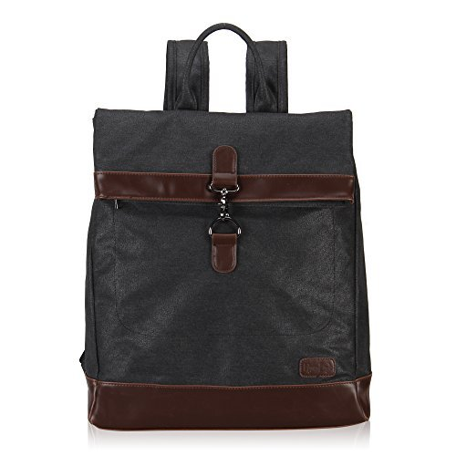 Hynes Eagle Stylish Roll Top Canvas Backpack Lightweight Travel Bag Matte Finish Black