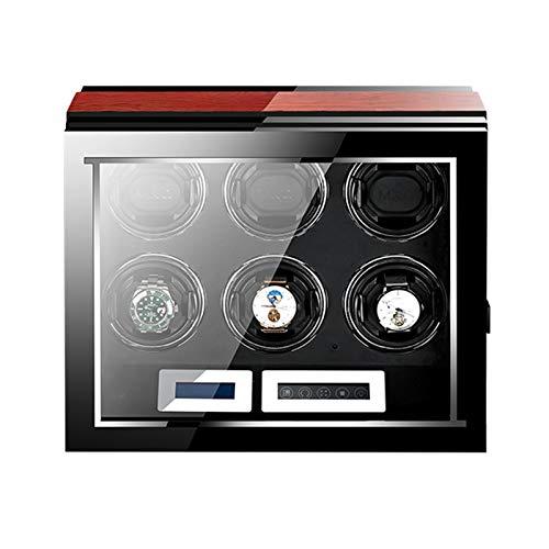 ZCXBHD Enrollador de reloj para 6 relojes automáticos Pantalla táctil LCD Control Pantalla LED Iluminación y Pantalla Táctil 5 Modos Disponibles Alimentado por Quiet Motor Display Case Box