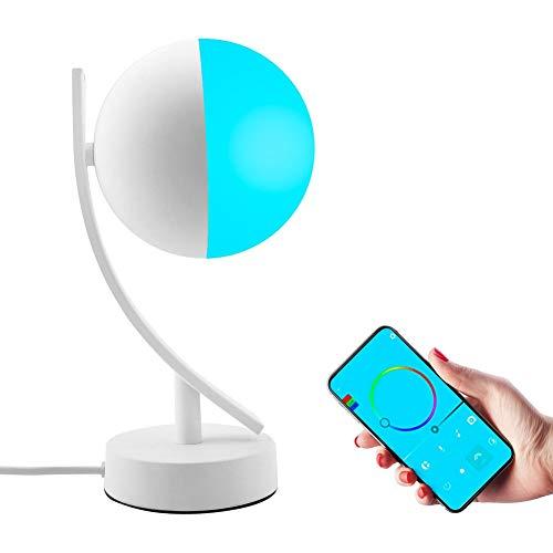 Bradoner Dormitorio RGBW Iluminación WiFi Anti-Azul Ajuste De Luz Libre Color Inalámbrico Inteligente Remoto Inteligente Altavoz Lámpara De Escritorio Lámpara De Mesa Lunar