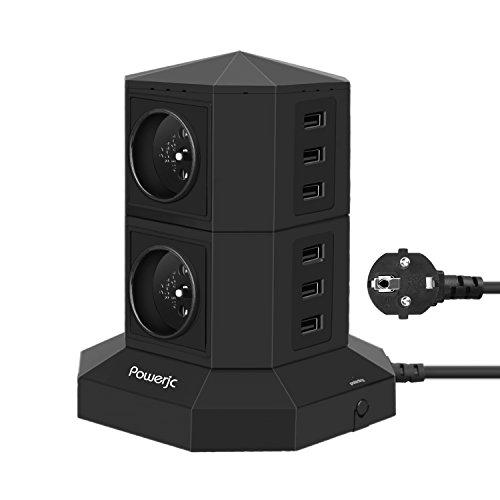 MehrfachsteckdoseTurm 4 Fach Steckdosenleiste (2500W/16A) und 6 USB-Anschlüsse (5V/4.2A) zum intelligenten Laden, Überspannungsschutz und Kurzschlussschutz,Powerjc Steckdosenturm mit USB,Zuleitung 2m