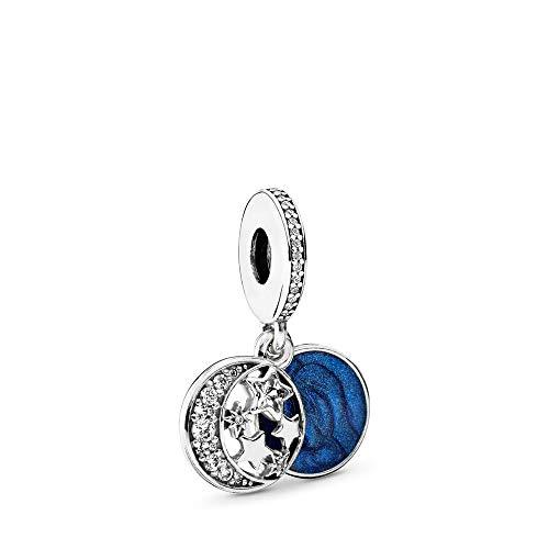 MiniJewelry Abalorio de plata de ley con diseño de estrella de luna azul para pulseras con texto en inglés 'I Love You to the Moon and Back'