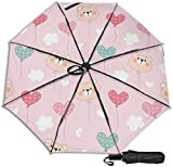 Paraguas de viaje a prueba de viento protección UV (cara y globo de oso de dibujos animados)