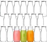 12 oz Glass Bottles, Glass Milk Bottles with Lids, Vintage Breakfast Shake Container, Vintage Drinking Bottles with Chalkboard Labels and Pen for Party,Kids,Set of 20