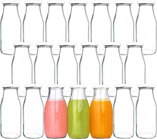 12 oz Glass Bottles, Glass Milk Bottles with Lids, Vintage Breakfast Shake Container, Vintage Drinking Bottles with Chalkboard Labels and Pen for Party,Kids,Set of 20