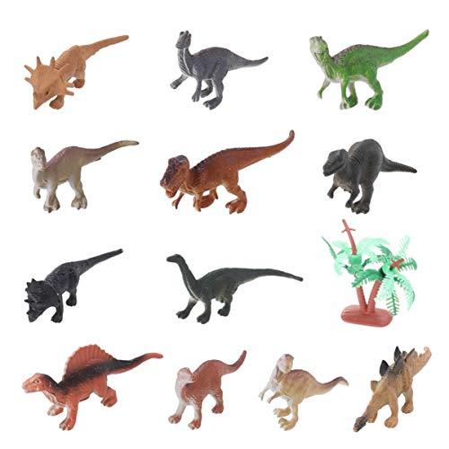TOYANDONA - 12 figuras de dinosaurios de plástico realista, decoración de tartas de cumpleaños, figuras de acción para niños, juguetes educativos