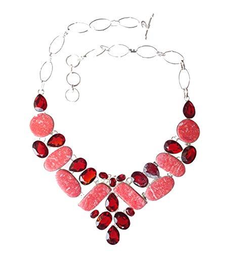 India Jewel Store Collar Hanmade Collar de Plata de Ley 925 Plateado Granate Rodocrosita Piedra Preciosa Collar de diseñador de Moda para Mujeres y Adolescentes Joyería Moderna Artesanía Hecha