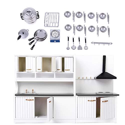 Baoblaze Modelismo Armario Kit de Cocina + Accesorios de Platos para Casa...