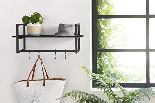LIFA LIVING Moderne Kapstok, Zwarte Muurkapstok, Hout en Metalen Wandkapstok, Hangende Kapstok met Haken voor Hal, Woonkamer, Slaapkamer, 28 x 70 x 29 cm