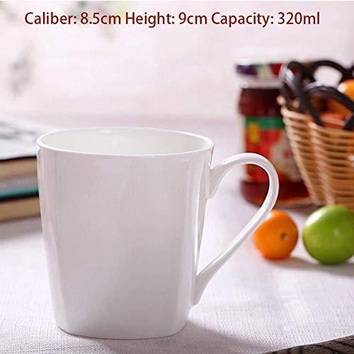 GFHTH Kaffeetassen Pure White Keramik Kaffeemilchbecher 320Ml-420Ml Großkaliber Kaffeemilch Tee EIS Obst Haferflocken Saft Tasse GeschenkeC