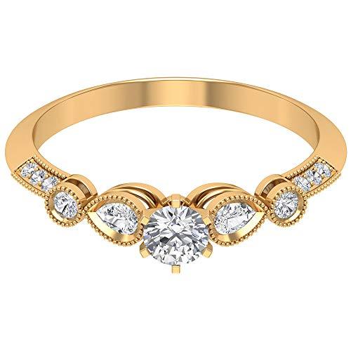 Anillo para mujer con forma de pera de 0,46 quilates y perlas grabadas, de oro eternidad, con certificado SGL, para mujer, 10 quilates amarillo
