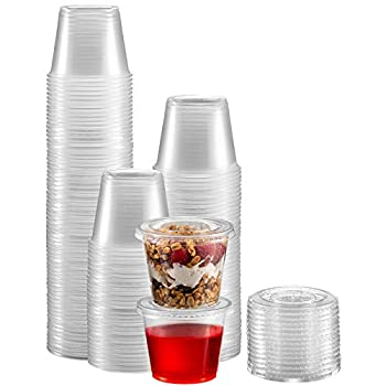 Zeml Portion Cups with Lids  5.5 Ounces 100 Pack  | Disposable Plastic Cups for Meal Prep Portion Control Salad Dressing Jello Shots Slime & Medicine | Premium Small Plastic Condiment Container