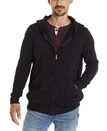 Invisible World Herren 100% Alpaka Hoodie Kapuzenpullover Kapuzensweatshirt Strickjacke Pullover & Warmer Alpakapullover Pulli aus Alpakawolle – Größe XL