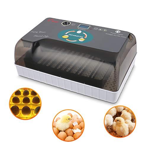 Sailnovo Brutmaschine Vollautomatisch Hühner Eier Brutgerät, 9-35 Eier Brutapparat Eier Inkubator mit Effizienter LED Beleuchtung Hatcher Maschine für Hühnergans Ente Taube Wachtel Vogel