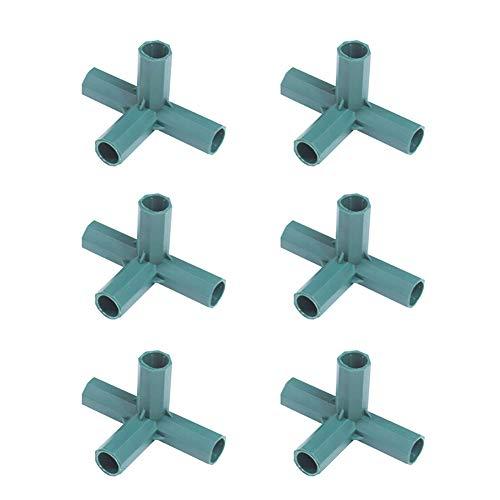 JIHUOO 6 Stück 16 mm PVC 4 Wege Steckverbinder Verbindungsstücke für Gewächshaus A