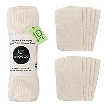Reusable Unpaper Towels Washable - Bamboo Nature Friendly Paper Towels Organic Cotton - Thick Strong Paperless Kitchen Roll - Reusable Napkins - Zero waste - 10 Pack