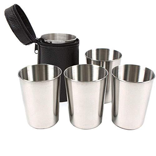 Venus Valink 4 Stück/Set Tragbare Bierbecher Whisky Kaffee Milch Tee Edelstahl Becher für Reisen Outdoor Camping Picknick Grill Strand Wasser Behälter Medium