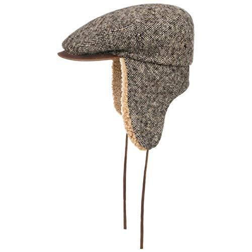 Stetson Casquette Tweed en Laine Homme - rechauffe Oreilles Protege-Oreilles Bonnet avec Visiere, Oreillettes Automne-Hiver - 56 cm Marron