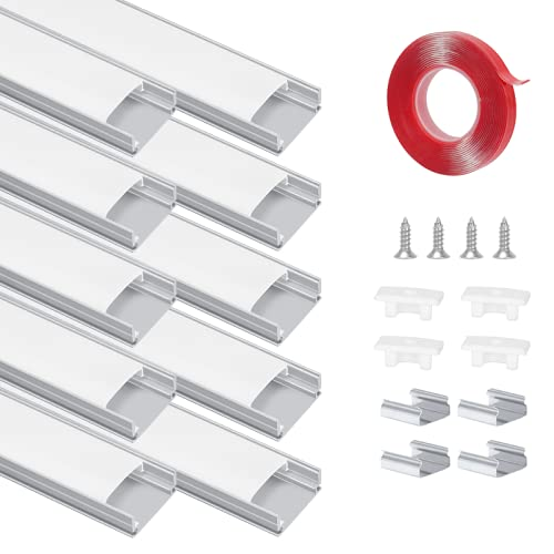Perfil LED 10 x 1 m, perfil de aluminio con cubierta blanca lechosa, canal de aluminio con tapas de extremos, adhesivo y tornillos, adecuado para tiras LED de hasta 12 mm (forma de U)