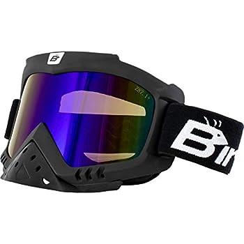 Birdz Eyewear Toucan Motorcycle ATV Ski Padded Goggles with Detachable Nose Guard & ReflecTech Blue Lenses