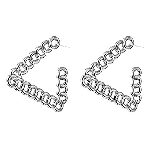 FEARRIN Pendientes de Diamantes de imitación de la Vendimia Pendientes de Gota de Oro exagerados de la Vendimia para Las Mujeres Pendientes Colgantes de Metal geométrico Joyería H226-K683-08