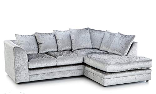 HHI Modern Silver Crushed Velvet Chicago Michigan Sofas -Cheap sofa for sale-Living Rooms Furniture(Corner Sofa (Right Side Sofa))