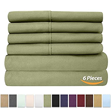 Sweet Home Collection 6 Piece 1500 Thread Count Brushed Microfiber Deep Pocket Sheet Set - 2 Extra Pillow Cases, Great Value,Queen,Sage