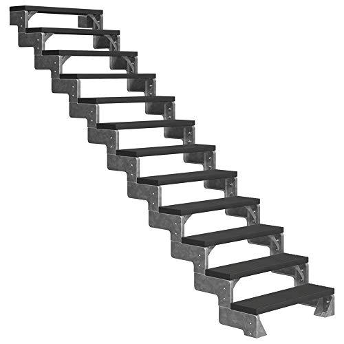DOLLE Außentreppe Gardentop mit 14 Stufen / 15 Steigungen │ Geschosshöhe: 270-330 cm │ Trimax® Stufenauflage Anthrazit │ 80 cm | ohne Geländer