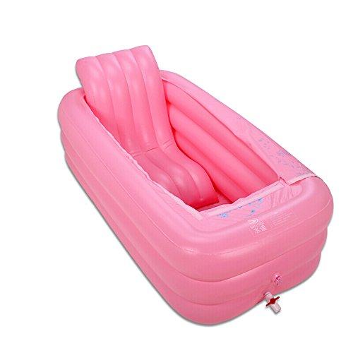 Aufblasbare Badewanne Haushalt Kunststoffwanne Mit Einem Deckel Faltbare Aufblasbare Erwachsenen Bad Barrel (165 * 85 * 45 cm) (Farbe : Pink)