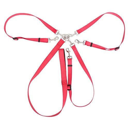 Correa para Perros UEETEK Tres Correa de Adiestramiento para Mascota Gato Perritos (Rojo)